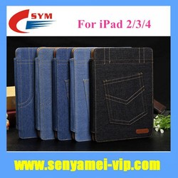 2015 New Design Jeans Case For iPad 2 3 4 Flip Cover Stand Card Holder Wallet