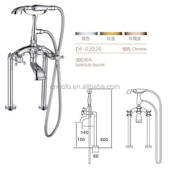 02024 Chrome Floor Standing Telephone Style Clawfoot Bathtub Faucet Tub Filler