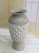 Handmade chinese style frosted tall flower vase insert diamond&jewel for home decorativon