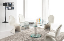 L865 glass top stainless steel 12mm thick Glass dining table use in home furniture