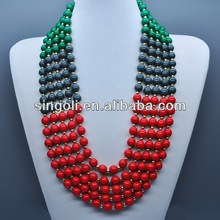 2014 China wholesale fashion jewelryMagnificent 5 Strand African colorful Beaded Necklace