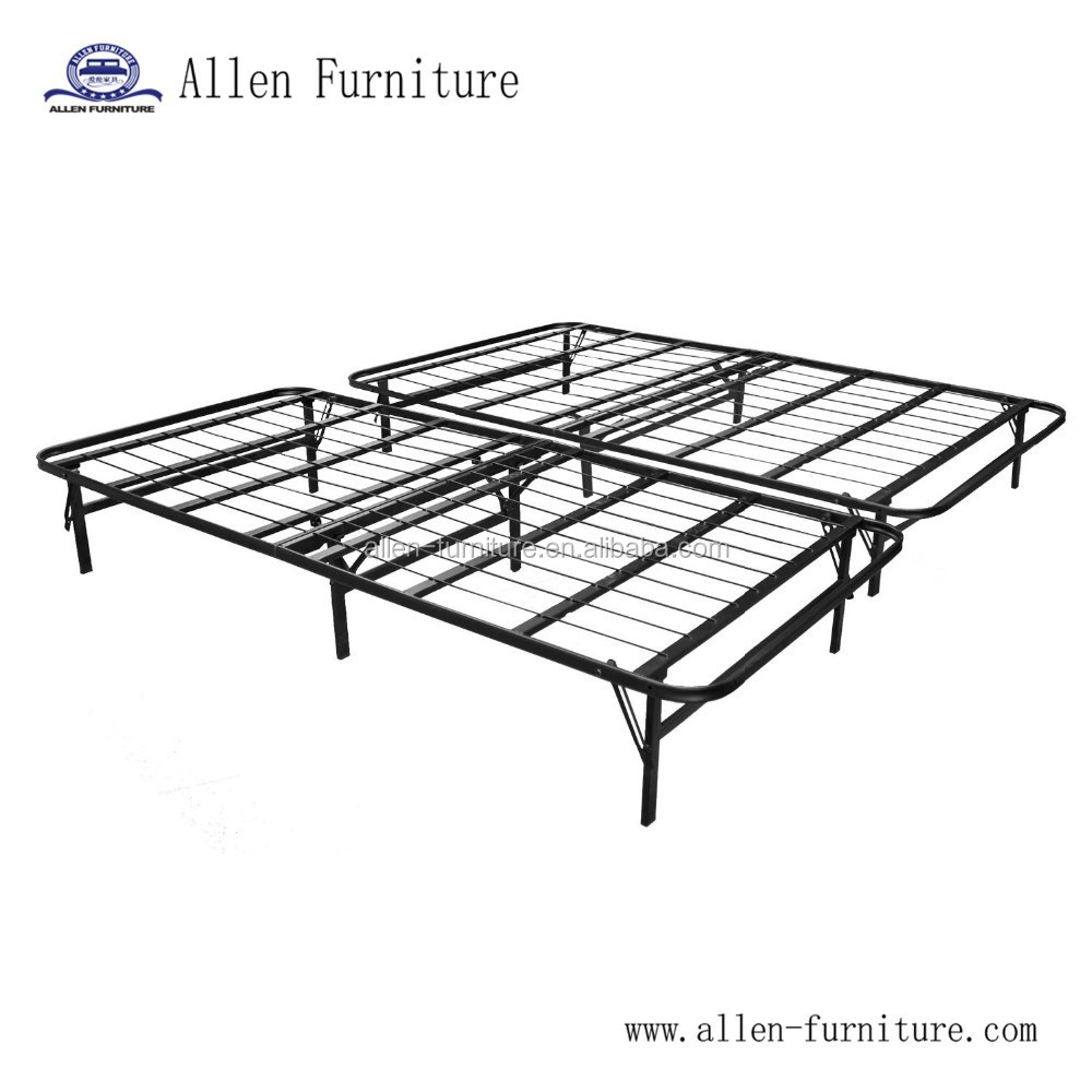 Foldable metal platform bed frame and mattress foundation queen