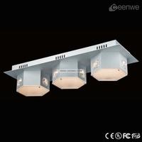 Bedroom ceiling light LED 3 lights silver acrylic LED light ceiling