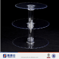 2015Hot sale !!!3 Tier Clear Acrylic cupcake and cake tower display stand circular Party Acrylic cake showcase show stand