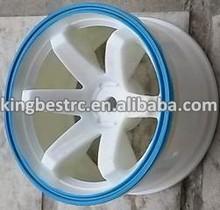 "4pcs Plastic 6 spoke Wheel Rims fit 1.9"" Tyres For 1:10 RC Car HPI HSP Racing white blue -kbw0036"