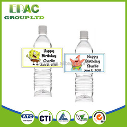 Manufactuer!!! Custom Plastic adhesive customized plastic water bottle label