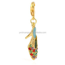 Beautiful high-heel shoes design pendant charm,alloy girls bracelets accessories with crystals