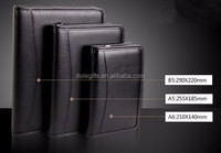 Custom A4/B5 genuine leather bag PU PVC leather folder with pen holder,notepad and passport holder zipper pocket