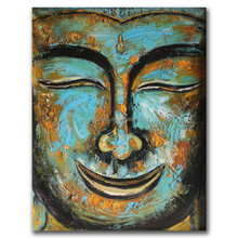 Modern style ,handmade smile buddha oil painting on canvas