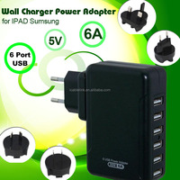 Black 6-Amp (30Watt) 6 port universal USB Wall Charger EU Plug Designed for Apple iphone iPad, Air, Mini; iPod and Android