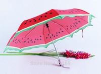 creative fruit printing 3 folding Semi-automatic care sun protection pongee umbrella special lace watermelon umbrella