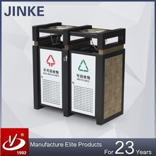 Outdoor Double Liner Metal Trash Wooden Waste Bin With Ashtray