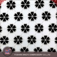 2015 New Products Latest Design Black Poly Chemical Embroidery Lace Fabric