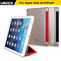IMUCA changeable stand PU leather clear PC leather case for iPad Air 2/iPad 6