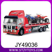 De alta velocidad de 4 canales de plástico camión contenedor de juguete del rc eléctrico con motocicleta de juguete