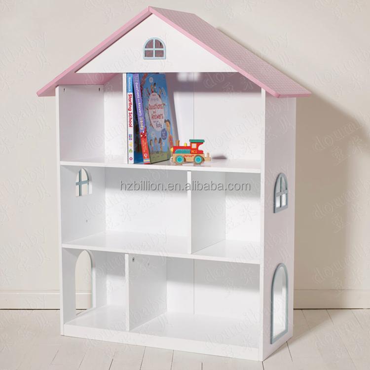 Lovely White European Style Wooden Kids Bedroom Dollhouse