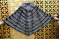 2015 NEW design America fashion winter black rex rabbit and raccoon fur coat/ shawl/cape/vest