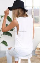 2015 hot selling printing sleeveless new cut women t shirt design