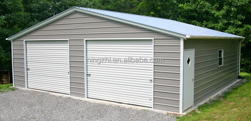 Portable Two Car Garage Metal : Two door garage portable metal steel structure