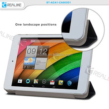 Cheap factory price transparent hard shell folded stand flip leather for acer A1 case