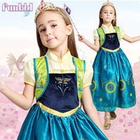 2015 new wholesale kids flower anna fever dress in movie frozen costume