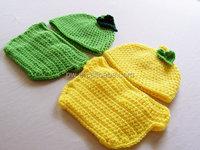 Crochet Baby Infant Lemon or Lime Crochet Hat and Diaper Cover Set Newborn Knit Beanie Cap Costume Photo Photography Prop.