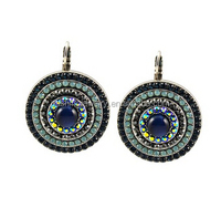 Silver Plated Crystal Roundel Drop spanish style earrings