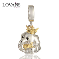 New Design 925 Sterling Silver Charms Elephant Bead With Gold Plated S283