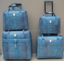 blue crocodile 4 pcs set luggage bags and case