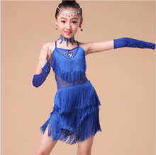 Kids Latin Dancing Costumes Children Sparkly Sexy Ballroom Party Clothes Girl Shining Belly Dress