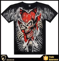 Popular street skulls T-shirts creative effect of 3D printing short sleeve T-shirts wholesale customization