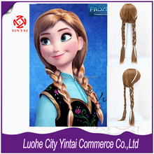New Movies Frozen Snow Queen Anne hair braid wigs cosplay for adult frozen party supplies