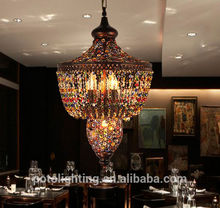 Hot Sale Glass Crystal Chandelier with Wrought Iron