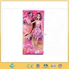 plastic factory china import toys 11.5inch jointed doll with fashion make up brush set