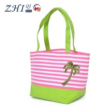 Custom large space strip lady summer canvas beach bag tote bag with tree shape sequin