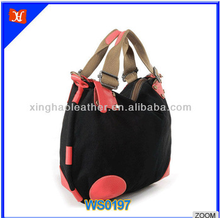 2015 new arrival dumpling shape fabric hobo bag Japanese and south Korean style soft handle sewing thread design fabric hobo bag