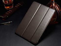 For genuine leather ipad case with book style in brown