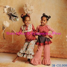Wholesale Girls Fall Cotton Clothing Boutique Remakes Ruffle Pants Outfit Sets Children Clothing usa IM-CSL008