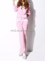 wholesale New Womens Pink Stylish Casual hoodie zipper-up fleece sportswear leisure suit