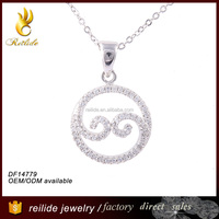 2015 wholesale jewelry 925 silver round charm zircon pendant yin and yang with zircons for party