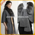 nueva moda gris de las mujeres de cachemira de punto y piel de zorro trim del cabo
