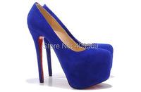 высокие каблуки продаж бледно-желтый красный снизу синий насосы пятки на высоких каблуках платформы замша кожа