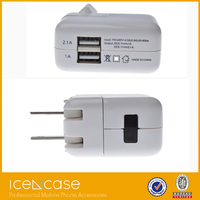Dual 2 Port USB Charger Adapter 5V 1A 2.1A Wall Charger Two Port Power Adapter For iPad