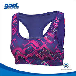 2015 digital printing sublimated sports bra manufacture