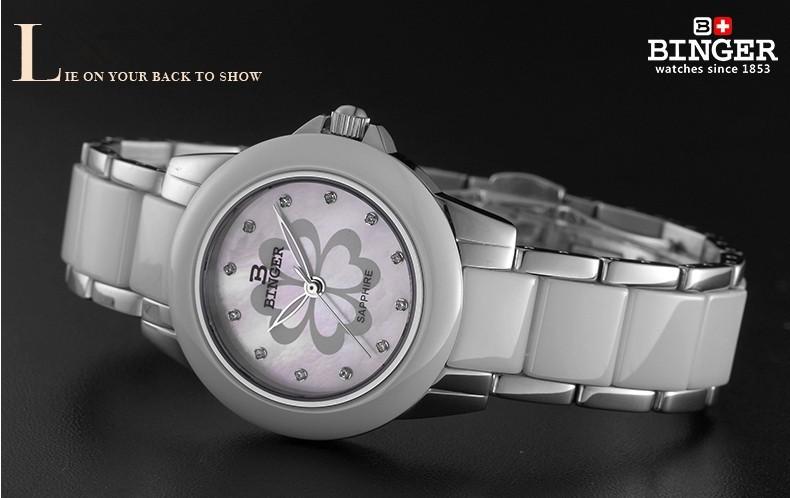 Бингер Новое Прибытие Мода Керамические Цветочные Часы Для Дам Женщин Белое Платье Наручные Часы Любовник Кварцевые 4 листьев Часы женева