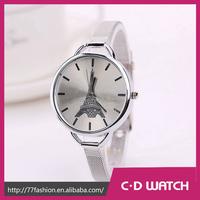 2015 New Fashion Watch Stainless Steel Watch Iron Tower Gold Watch Thin strap Quartz XR1033