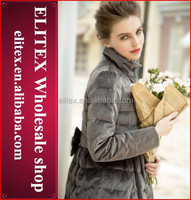 2014 wholesale luxury fashion design sexy lady american windproof goose down jacket