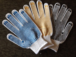 Best price cotton knitted gloves with rubber dots