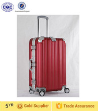 Red color universal wheel unisex trolley luggage, aluminum trolley luggage bag