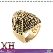 Goldtone Antiqued Large Swirl Pave Design Ring